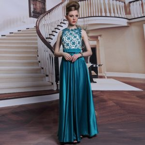 Fashionable Floor Length Teal Mother of Groom Dress Scalloped Sleeveless Clasp Handle