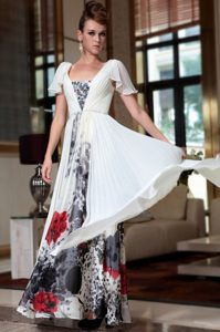 High End Off The Shoulder Cap Sleeves Chiffon Mother of Groom Dress Beading and Pattern Zipper