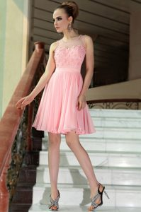 Stunning Baby Pink Empire Scoop Sleeveless Chiffon Mini Length Side Zipper Pleated Mother of Groom Dress