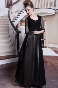 Eye-catching Black Zipper V-neck Lace and Pleated Mother of Groom Dress Chiffon Half Sleeves
