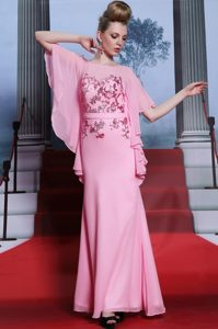 Fashion Scoop Floor Length Column/Sheath Half Sleeves Rose Pink Mother of Bride Dresses Zipper