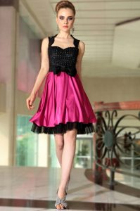 Sleeveless Satin Knee Length Side Zipper Mother of Bride Dresses in Pink And Black with Beading