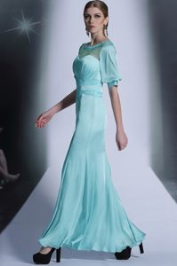 Custom Design Aqua Blue Bateau Zipper Sequins and Pleated Mother of Bride Dresses Half Sleeves