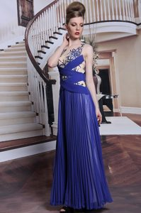 Sequins and Pleated Mother Dresses Royal Blue Zipper Sleeveless Floor Length
