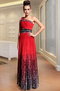 Red One Shoulder Neckline Beading and Pattern and Pleated Mother of Bride Dresses Sleeveless Side Zipper