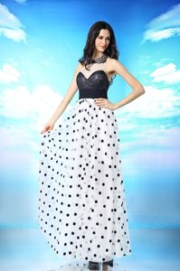 White And Black Chiffon Side Zipper Halter Top Sleeveless Ankle Length Mother Dresses Beading and Sequins and Ruching