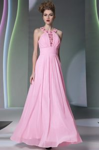 Ideal Halter Top Sleeveless Mother of Bride Dresses Floor Length Beading Rose Pink Chiffon