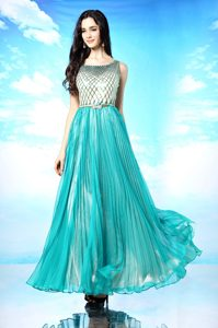 Exceptional Scoop Chiffon Sleeveless Floor Length Mother of Groom Dress and Pleated