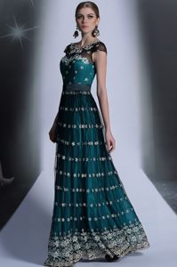 Teal Side Zipper Scoop Appliques and Pleated Mother of Groom Dress Organza Cap Sleeves