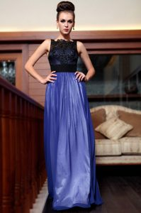 Extravagant Blue And Black Column/Sheath Beading and Appliques Mother of Bride Dresses Side Zipper Chiffon Sleeveless Floor Length