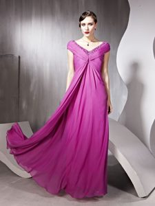 Floor Length Rose Pink Mother of Bride Dresses V-neck Cap Sleeves Zipper