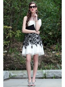 Noble White And Black A-line One Shoulder Sleeveless Chiffon Knee Length Criss Cross Lace Mother of Bride Dresses