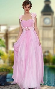 Noble Rose Pink A-line Satin Sweetheart Sleeveless Belt and Hand Made Flower Floor Length Zipper Mother Dresses