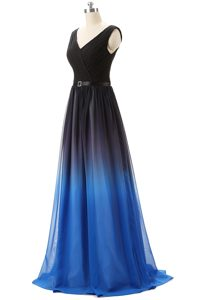 Latest Lace Up Mother of Bride Dresses Blue And Black for Prom and Party with Beading Brush Train