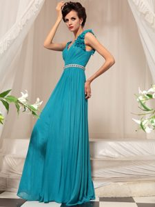 Teal Sleeveless Floor Length Ruffles Side Zipper Mother of the Bride Dress