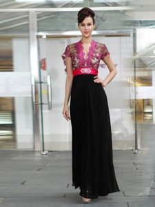 Red And Black Column/Sheath V-neck Short Sleeves Chiffon Ankle Length Zipper Appliques and Ruching Mother Dresses