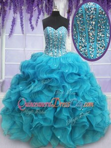 Exceptional Teal Lace Up Quinceanera Dress Beading and Ruffles Sleeveless Floor Length