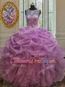 Noble Floor Length Ball Gowns Sleeveless Lilac Sweet 16 Dress Lace Up