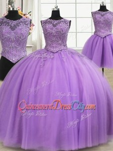 Custom Made Sleeveless Floor Length Beading and Appliques Lace Up Quinceanera Dress withLilac