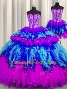 Dramatic Floor Length Multi-color Vestidos de Quinceanera Tulle Sleeveless Spring and Summer and Fall and Winter Beading and Ruffles and Ruffled Layers and Sequins