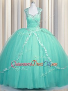 Charming Cap Sleeves Brush Train Zipper With Train Beading and Appliques Quince Ball Gowns