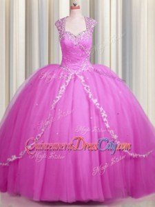 Hot Pink Tulle Zipper Quinceanera Dress Cap Sleeves With Brush Train Beading and Appliques