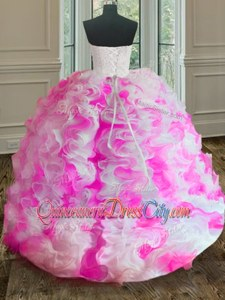 Fitting Pink And White Ball Gowns Sweetheart Sleeveless Organza Floor Length Lace Up Beading and Ruffles Quinceanera Gown