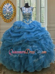 Free and Easy Scoop Sleeveless Lace Up Sweet 16 Quinceanera Dress Light Blue Organza