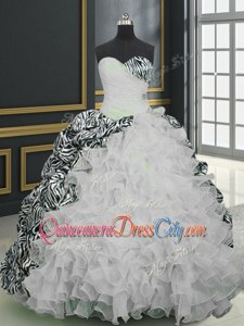 Glorious White And Black Sleeveless Organza and Printed Brush Train Lace Up Sweet 16 Quinceanera Dress forMilitary Ball and Sweet 16 and Quinceanera