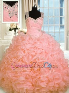 Affordable Watermelon Red Straps Zipper Beading and Ruffles Quinceanera Dresses Sleeveless