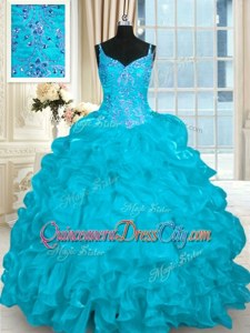 Aqua Blue Lace Up Sweet 16 Quinceanera Dress Beading and Embroidery and Ruffles Sleeveless Brush Train