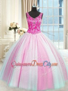 Admirable Baby Pink and Pink And White Sleeveless Floor Length Beading Lace Up Quinceanera Dresses
