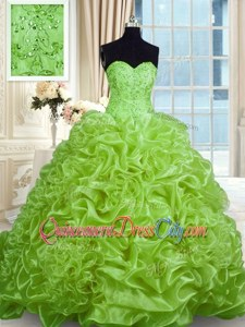 Spectacular Sleeveless Sweep Train Beading and Pick Ups Lace Up Quinceanera Gown