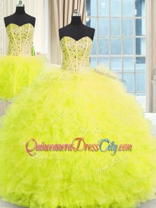 Edgy Spring and Summer and Fall and Winter Tulle Sleeveless Floor Length 15th Birthday Dress and Beading and Ruffles
