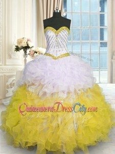 Pretty Yellow And White Sweetheart Neckline Beading and Ruffles Sweet 16 Dresses Sleeveless Lace Up
