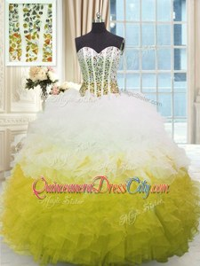 Traditional Yellow And White Sweetheart Neckline Beading and Ruffles Ball Gown Prom Dress Sleeveless Lace Up