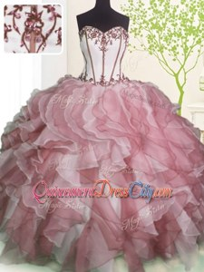 Unique Ball Gowns Sweet 16 Dresses Pink And White Sweetheart Organza Sleeveless Floor Length Lace Up