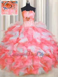 Modest Sleeveless Floor Length Beading and Ruffles and Hand Made Flower Lace Up Quinceanera Gowns withPink And White