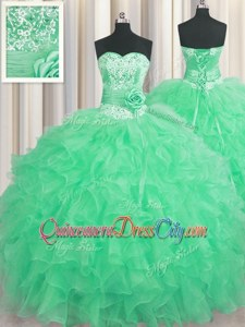 Modest Sleeveless Beading and Ruffles and Hand Made Flower Lace Up Quince Ball Gowns