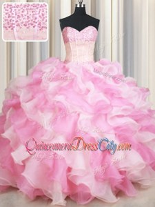 Pink And White Lace Up Sweetheart Beading and Ruffles Sweet 16 Quinceanera Dress Organza Sleeveless