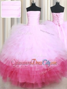 Romantic Pink And White Sleeveless Tulle Lace Up 15th Birthday Dress forMilitary Ball and Sweet 16 and Quinceanera