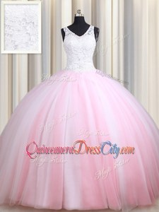 High End Floor Length Zipper Ball Gown Prom Dress Pink And White forMilitary Ball and Sweet 16 and Quinceanera withLace