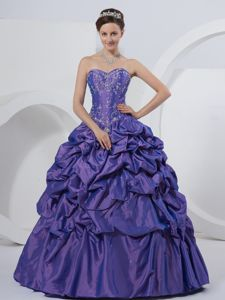 2021 Purple Sweetheart Quinceanera Gown Dress Appliques Pick-ups