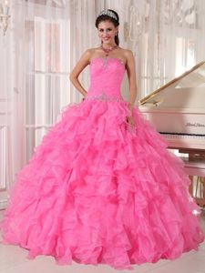 Sweetheart Quinceanera Dress Ruche and Beading Bodice with Ruffles