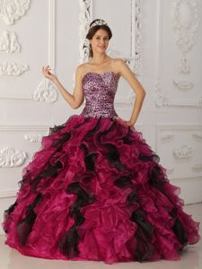 Leopard Printing Sweetheart Quinceanera Gown Dresses Ruffled Layers