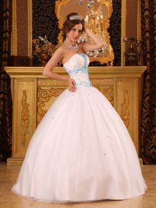 White Satin and Tulle Dresses for Quinceaneras Strapless with Beading