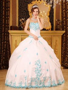 White Ball Gown Floor-length Lace Decorate Quinceanera Gown Dress