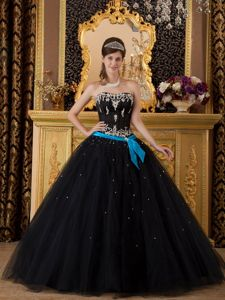 Black Strapless Quinceanera Dresses Appliques and Beading in Tulle