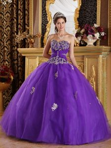 Purple Ball Gown Tulle Beaded Quinceanera Dresses with Appliques