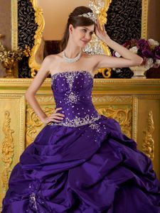 Purple Strapless Beading Appliques Dresses for Fifteen with Pick-ups